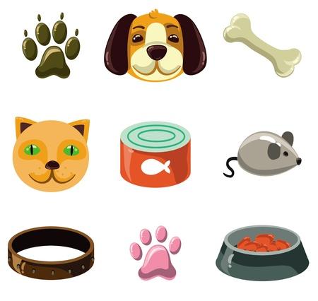 gato dibujo: gato y perro con juguetes y alimentos