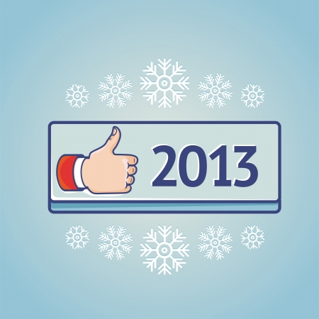 greeting card with like sign on blue button with 2013 Vector