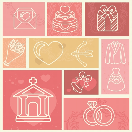 Vintage design elements with wedding and love icons Vector