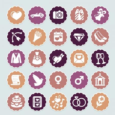 ślub: retro ikony kolekcja ślubna i odznaki Ilustracja