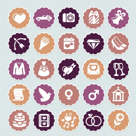 wedding card design: retro wedding collection icons and badges