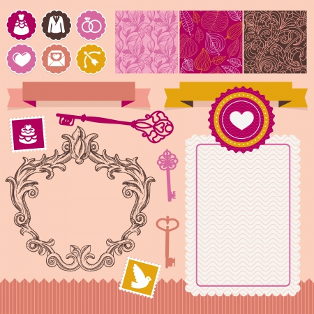Collection of vintage design elements - for wedding invitations and cards Stock Vector - 15755004