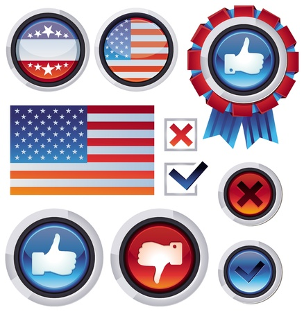 set with voting and election design elements - american flag and likes Vector