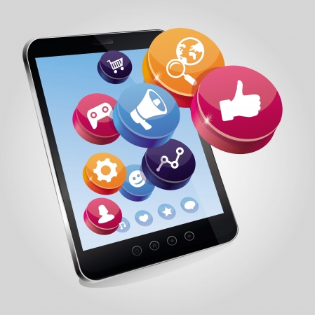 tablet pc with social media concept on touchscreen - illustration with icons Stock Vector - 15754995