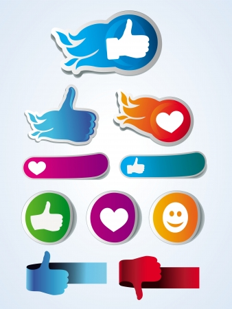 set of like stickers with hands and hearts Vector