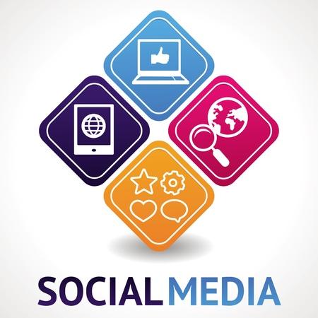 social media marketing: medios de comunicaci�n social, concepto - ilustraci�n abstracta con los c�rculos y los iconos
