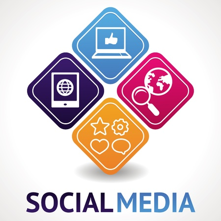 social media concept - abstract illustration with circles and icons Stock Vector - 15755047