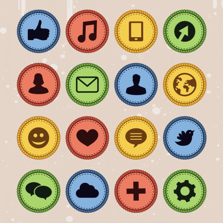 Set of social media badges in vintage style Vector