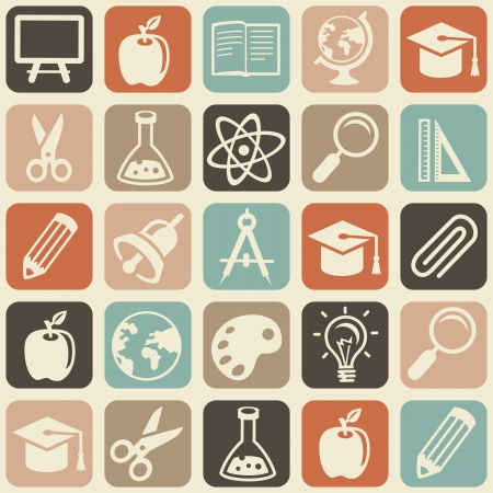 seamless pattern with education icons - abstract background Vector
