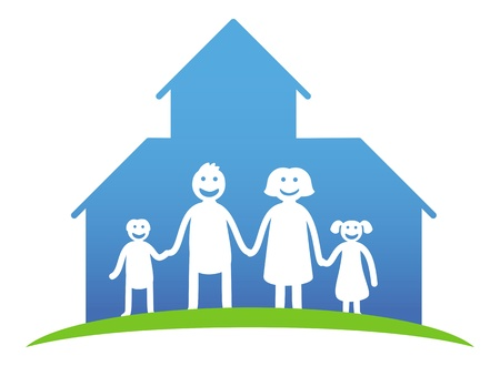 family concept - happy parents and kids near their house - cartoon illustration Vector