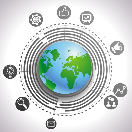 internet marketing concept - abstract background with globe and icons Illustration