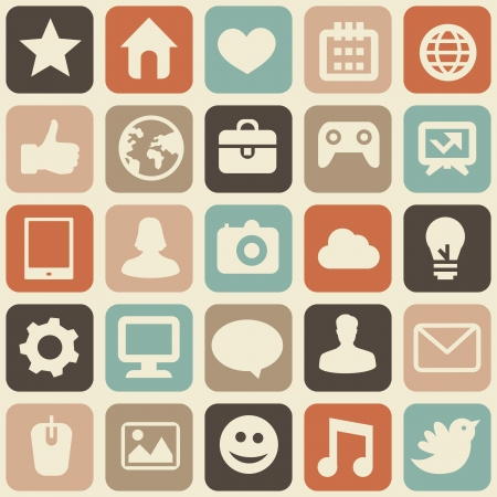 tecnology: seamless pattern with social media icons - abstract background