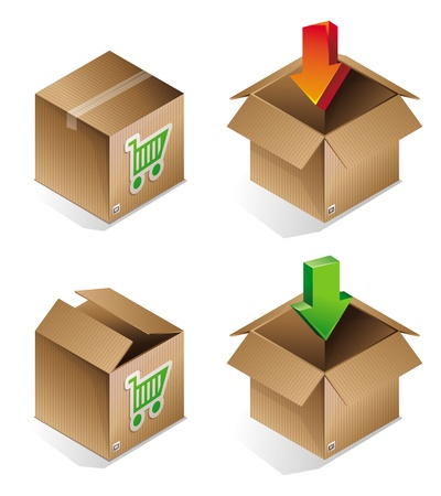 shipment parcel: icon of shipping box - internet concept