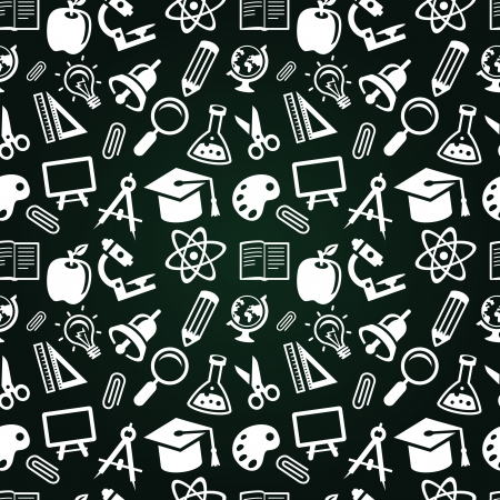 seamless pattern with education icons  - back to school Vector