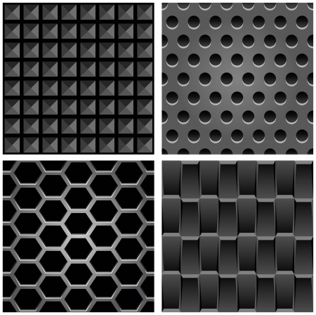 set with metal seamless patterns - abstract background for website Vector