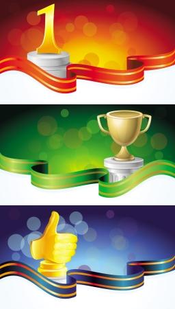 1 place: establecer con pancartas ganador - con premios de oro