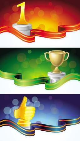 set with winner banners - with golden prizes Vector