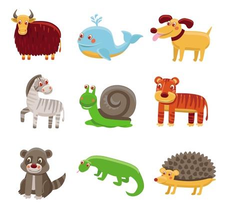 Cute cartoon animals - vector drawing set