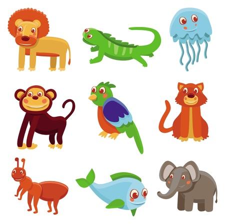 jellyfish: Cute cartoon animals - vector drawing set