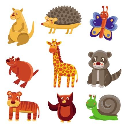 cartoon butterfly: Cute cartoon animals - vector drawing set