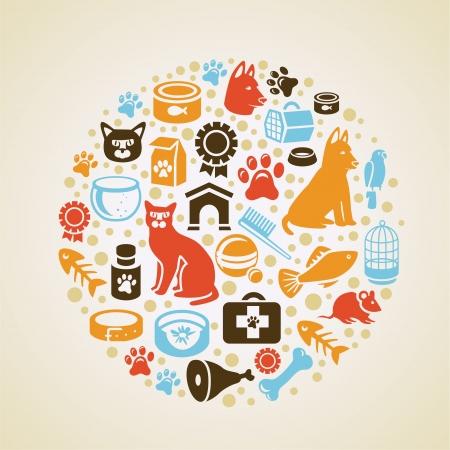 hygi�ne alimentaire: Vector frame avec ic�nes pour chiens et chats - love concept pour animaux de compagnie Illustration