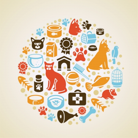 hueso de perro: Vector marco con los iconos de perros y gatos - concepto de amor para mascotas