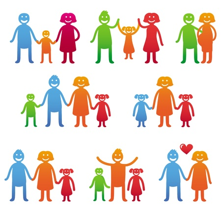 Vector family icons - happy parents with kids - bright illustration Vector
