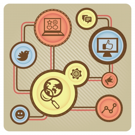 facebook: Vector social media concept with internet icons - illustration in retro style