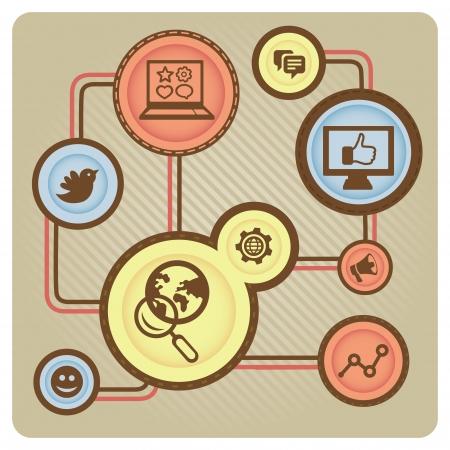 face book: Vector social media concepto con los iconos de Internet - ilustraci�n de estilo retro
