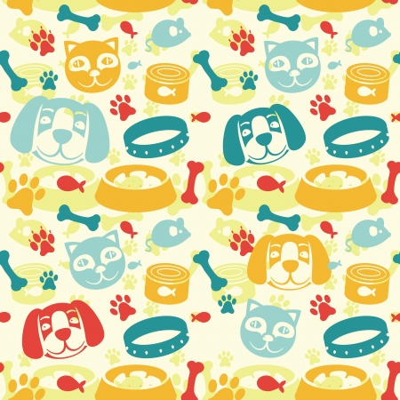 paw: bright seamless pattern with funny cat and dog - vector illustration