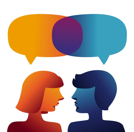 conflictos sociales: Vector concepto de comunicación - Perfiles del hombre y de la mujer Vectores