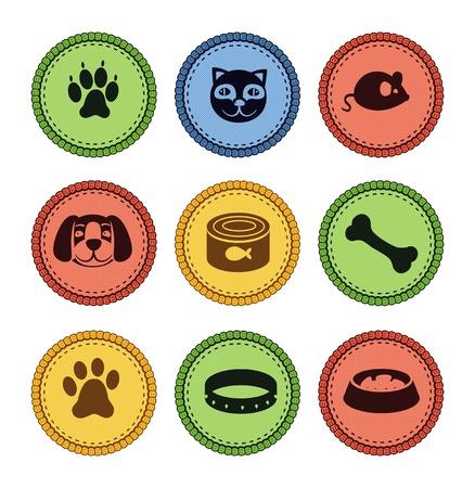 conjunto de iconos de perros y gatos en el estilo retro - ilustración vectorial Foto de archivo - 15834645
