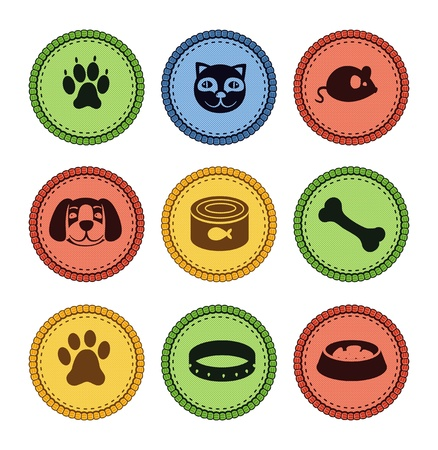 set of cat and dog  icons in retro style - vector illustration Vector