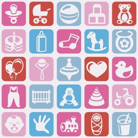 babero: Vector sin patrón con iconos chico brillante - fondo abstracto para niños