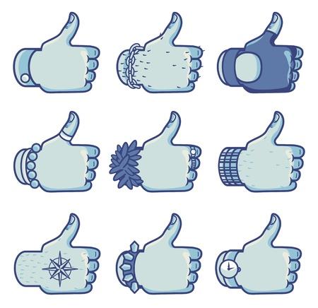 같은: 서로 다른 스타일의 징후 같은 벡터의 집합 - 페이스 북에 대한 개념