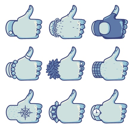 Set of vector like signs in different styles - concept for facebook Vector