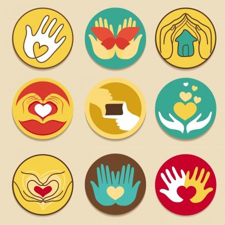 corazon en la mano: Vector colecci�n de signos de amor - para la caridad y hecho a mano