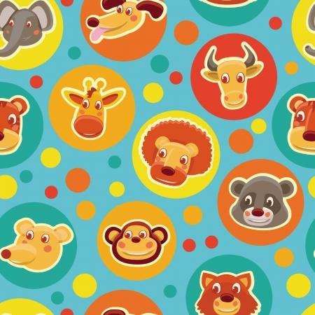 illustration zoo: Divertente senza soluzione di modello con teste di animali del fumetto - illustrazione vettoriale