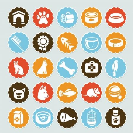 veterinarian symbol: Set di adesivi con icone vettoriali per animali - cani e gatti attrezzature Vettoriali