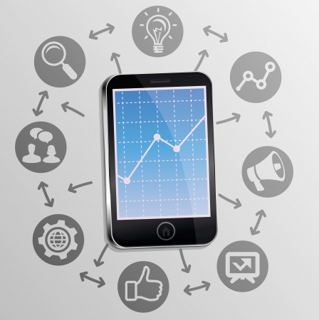 mobile marketing: Vector internet marketing concept on mobile phone screen - background with technology icons