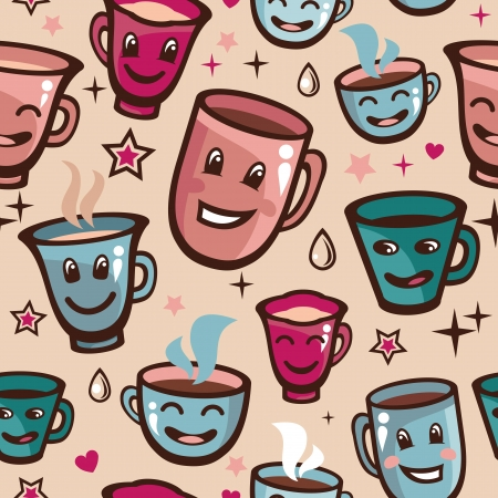 teatime: Vector seamless pattern with tea cups - cartoon background