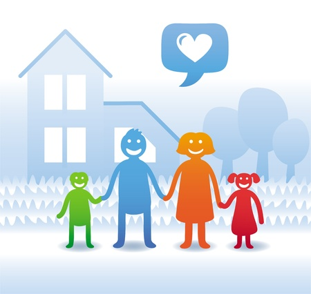 child holding sign: Vector family concept - happy parents and kids near their house - cartoon illustration Illustration