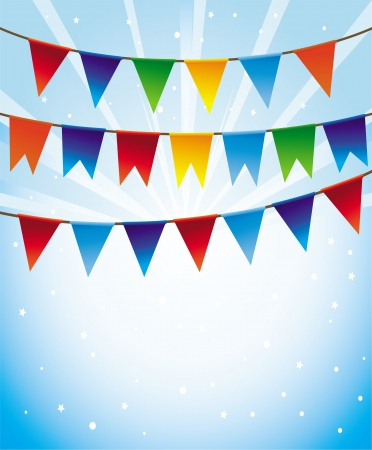 Vector holiday background with bright flags -frame for greeting card Vector