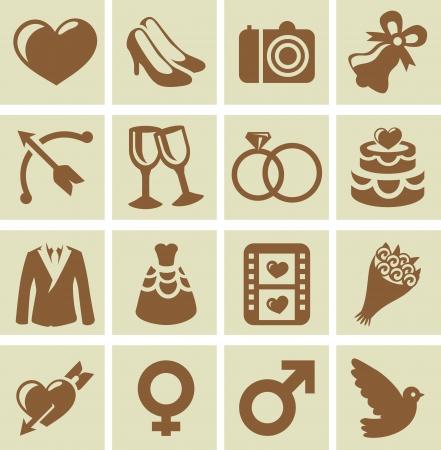 mazzo di fiori: Elementi di design vettoriale di carte di nozze e inviti - collezione di icone con le icone