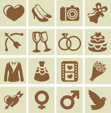 Vector design elements for wedding cards and invitations - collection of icons with icons