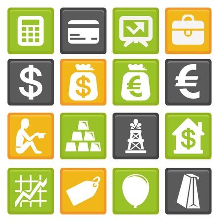 signos de pesos: vector conjunto de iconos de negocios y finanzas