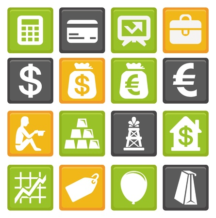 euro sign: vector set with business and finance icons Illustration