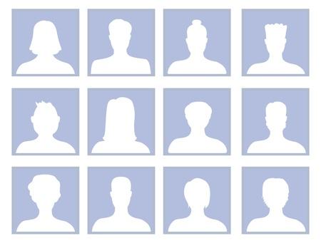 man face profile: Vector conjunto de iconos avatares - hombres y mujeres, silueta,