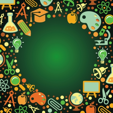 green chemistry: Back to school concept - vector illustration with education icons Illustration