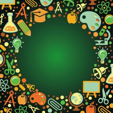 quimica verde: Volver al concepto de escuela - ilustraci�n del vector con los iconos de la educaci�n